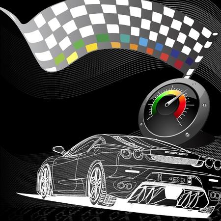 tacometro: dise�o de coches de carreras en el fondo negro
