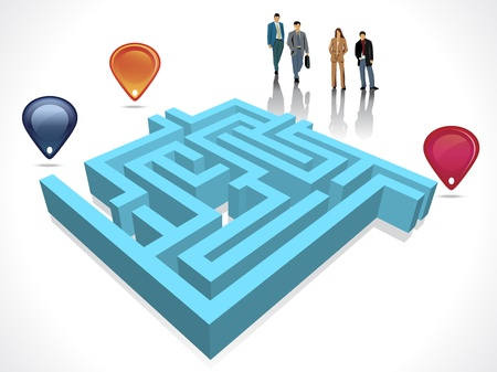 difficult decision: Labyrinth maze concept with business people