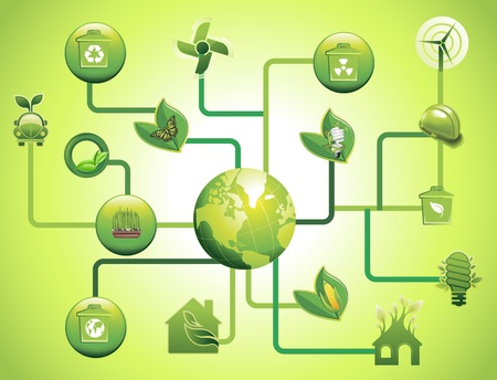 green environmental icons and design network Stock Vector - 12476828