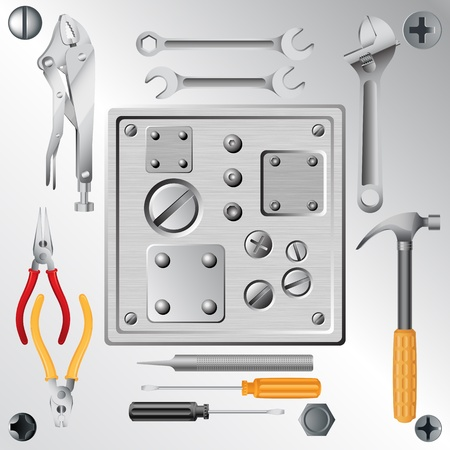 set of tools and set of screws and rivets Vector