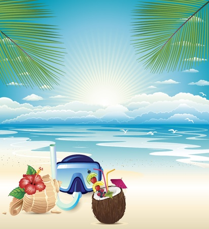 diving save: shell, scuba, diving and fresh coconut cold drink on the beach Illustration