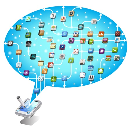 social network communication in the global mobile Stock Vector - 12476835