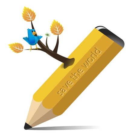 sprouting: Pencil with branches sprouting from a bird in the branches