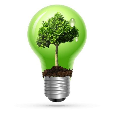 earth friendly: Green tree in lamp on isolated Illustration