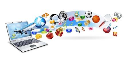 overdracht: Een geïsoleerde laptop heeft vele voorwerpen, die uit het scherm