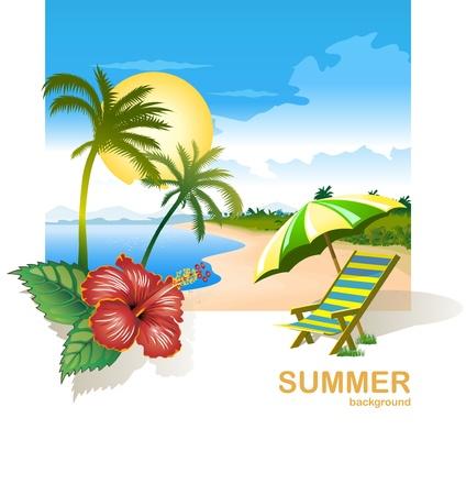 playa caricatura: sillas de playa de verano y de la flor en la playa tropical Vectores