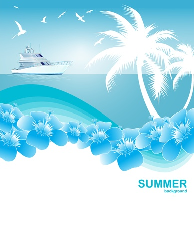 Blue Tropical summer background Vector