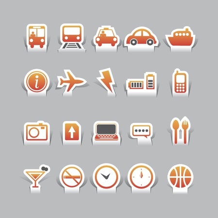 paper cut travel and tranformation icons Vector