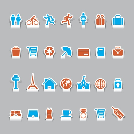 paper cut vacation icons and travel icon Stock Vector - 12812076