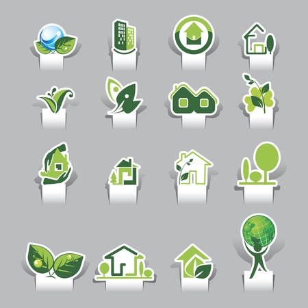 Paper cut Ecological Icons Stock Vector - 12812077