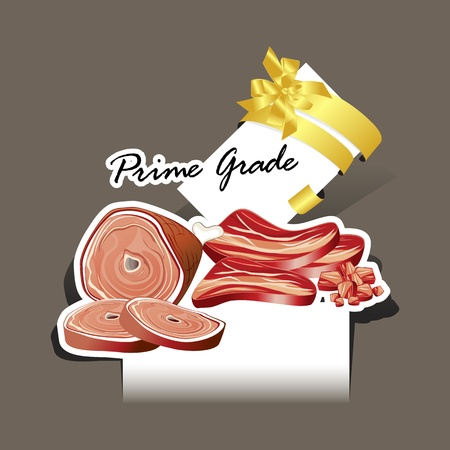 Paper cut Meat and Sausages set prime grade Vector