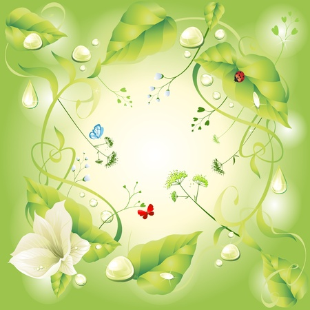 green floral butterfly and gold bug Vector