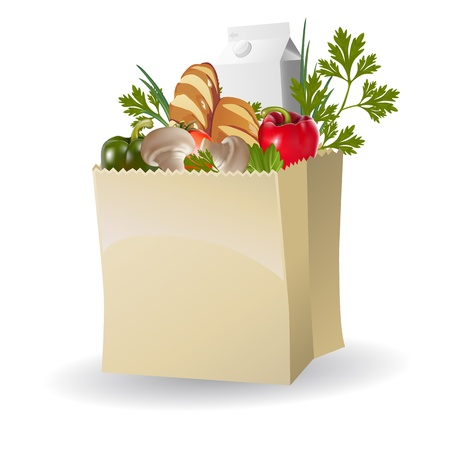 pastry bag: Vegetables, milk and bread in paper bags Illustration