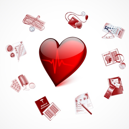 Red glass heart with cardiogram and Medical Icons Vector