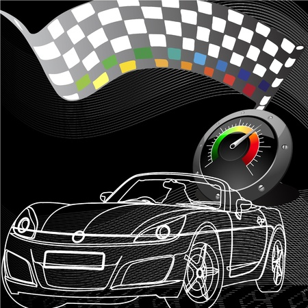 high speed: car racing design in black background