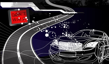 racing sign: car racing design in black background