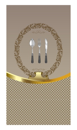 Vector template ornate menu with vintage cutleries Vector