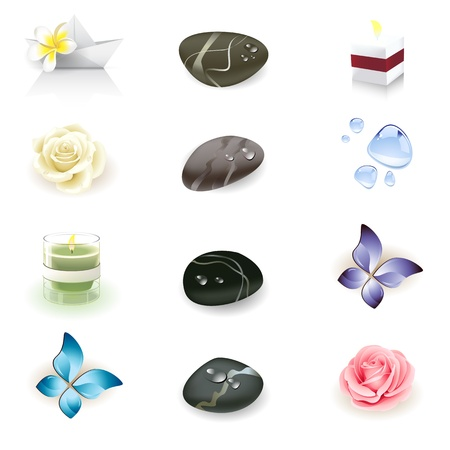 massage stones: spa icon set, health and beauty seria Illustration
