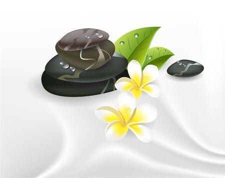 massage symbol: illustration spa stones and frangipani on silk.