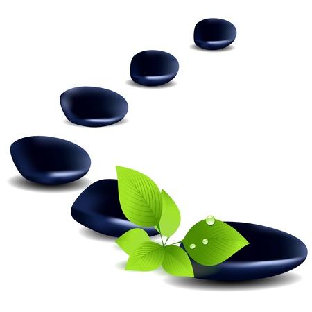 Zen kiezels, stenen spa en gezondheidszorg concept van