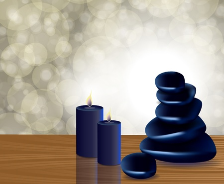 spa still life: spa stones with candle on a bokeh background Illustration