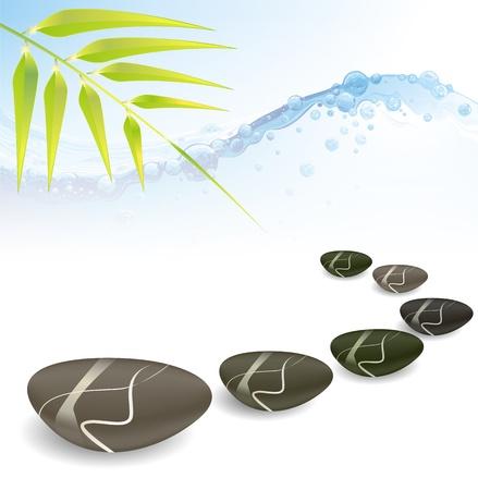 bamboo mat: spa concept zen basalt stones