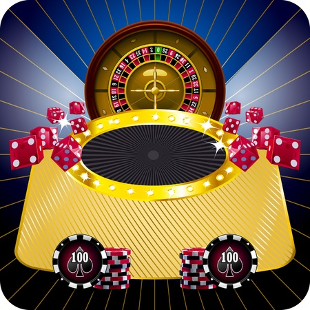Casino dark framed composition with roulette wheel Vector