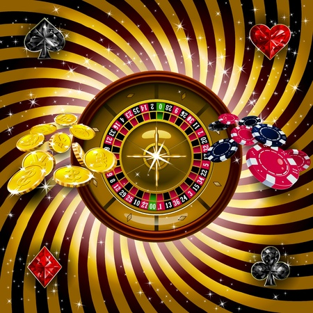 gambling wheel: Casino  with roulette wheel on gold background