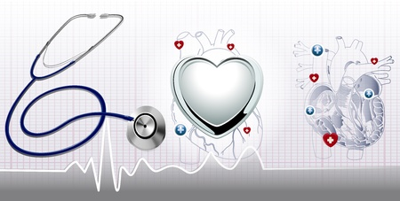 heart bypass: Stethoscope and the heart and ecg background