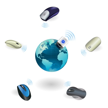 Wireless mouse connect with global on Isolated Illustration Vector