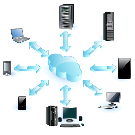 virtual server: Cloud computing concept Illustration