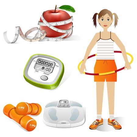 weights: ragazza in hula hoop e set di icone di fitness