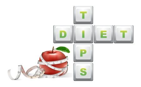 tippek: diéta tippeket szöveg mérőszalag és alma Illusztráció