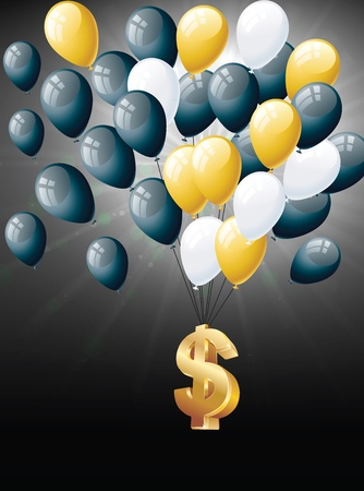 Dollars floating with balloons Vector