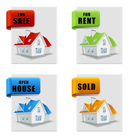 real estate banner set house for sale for rent sold open house Stock Vector - 12812230