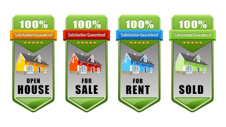 real estate banner set house for sale for rent sold open house Stock Vector - 12812240