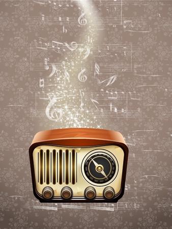La radio Retro sur fond notes de musique