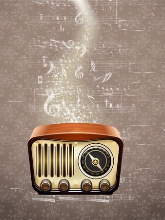 Retro radio on musical notes background