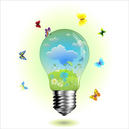Green eco lightbulb with Green leaf and butterfly Vector