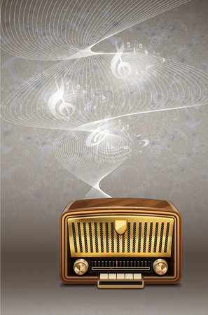 radio frequency: Retro radio on musical notes background