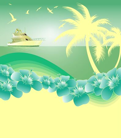 green and yellowTropical summer background Vector