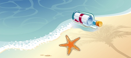 Posta in una bottiglia di vetro galleggiante in mare e stelle marine.