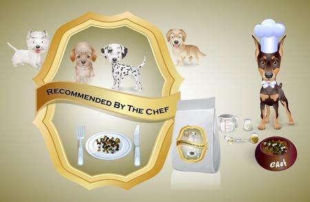 perro chef de comida para perros recomienda para los cachorros Ilustración de vector