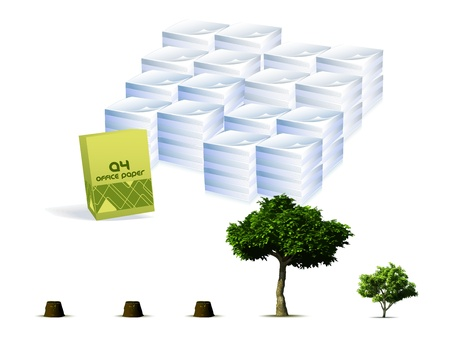 deforestation: Trees compared to the paper concept