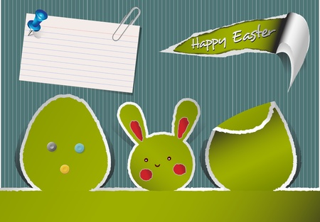 easter egg with ripped paper and paper note Stock Vector - 12812276