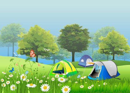 Tent in the garden with flowers, and mist Vector