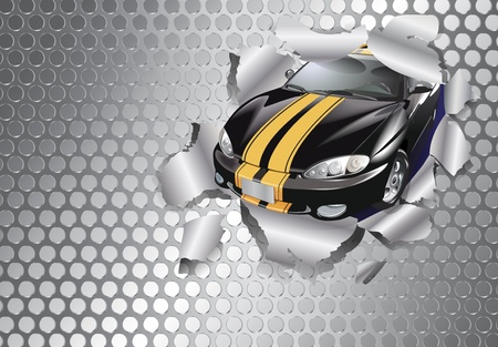 ripped: Car tear through the steel plate
