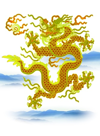 Chinese Dragon with clouds on white background Stock Vector - 12812289