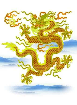 folktale: Drag�n chino con las nubes en el fondo blanco