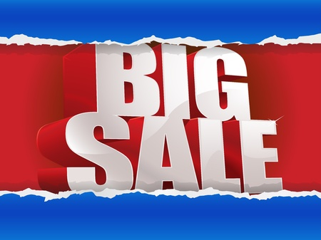 Big sale tear through the paper Stock Vector - 12812284